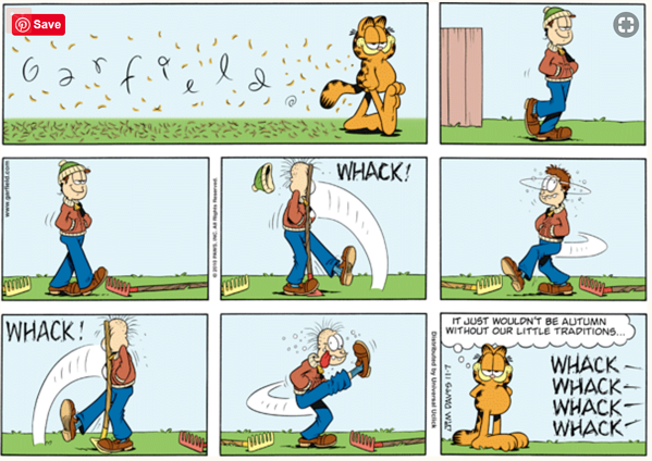 Garfield Stepping on a Rake