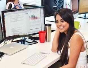 Office worker in digital environment
